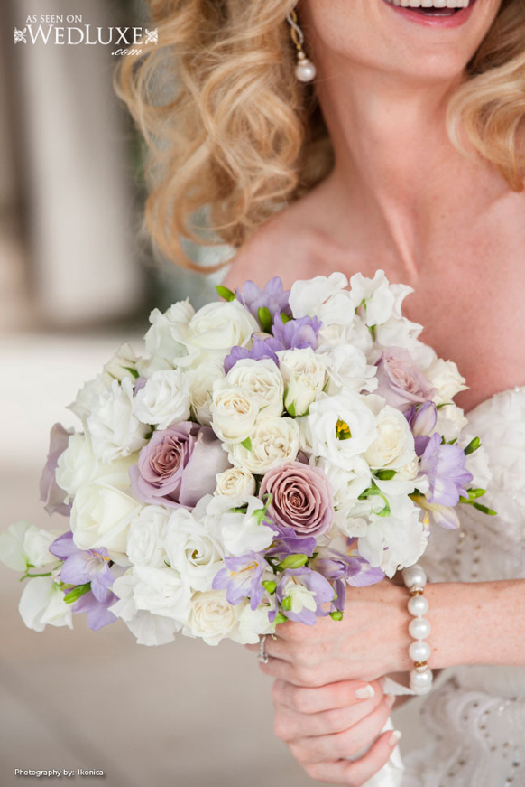 luxury Lavender and white wedding boquet