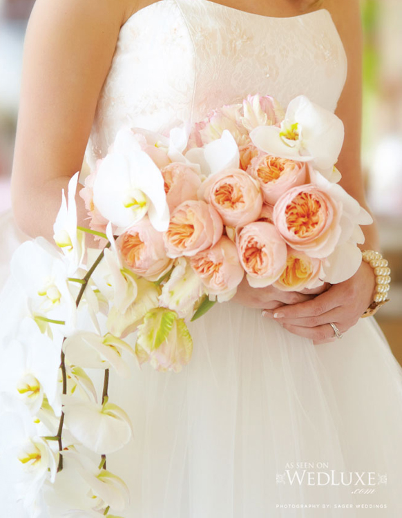luxury peach flowers with white orchid Cascading style wedding bouquet