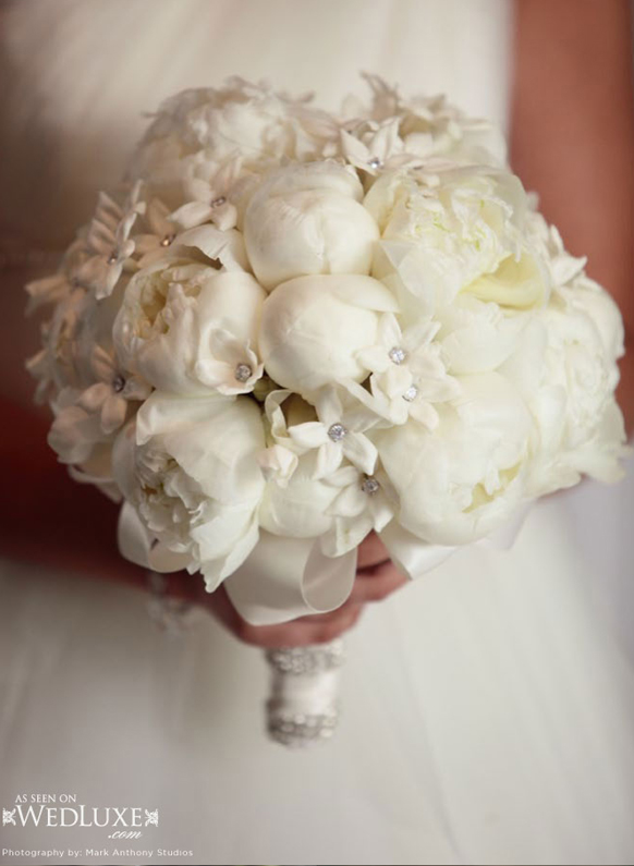 luxury white peonies and crystals wedding bouquet