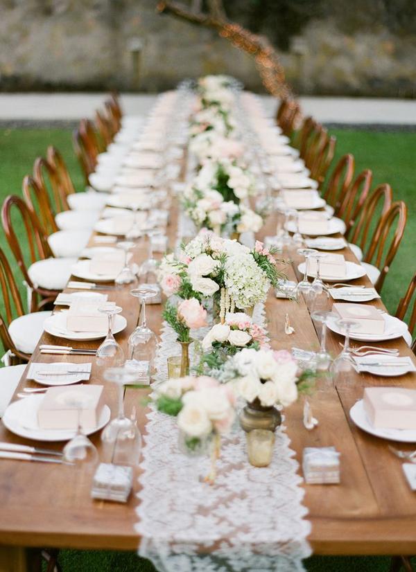 Long Rustic Chic Table Wedding Decorations Jemma Keech Photgraphy