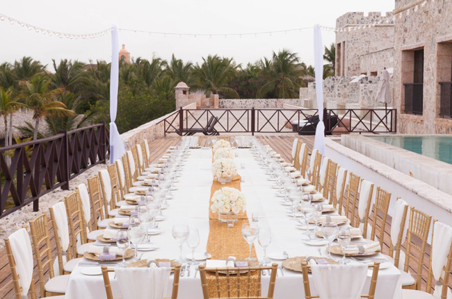 A Long Rectangular Head Table Setting Is Traditional At Wedding