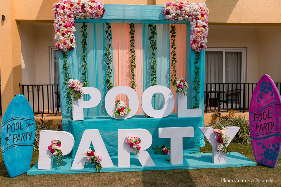 Ansh and Sanjana Pool Party Decor
