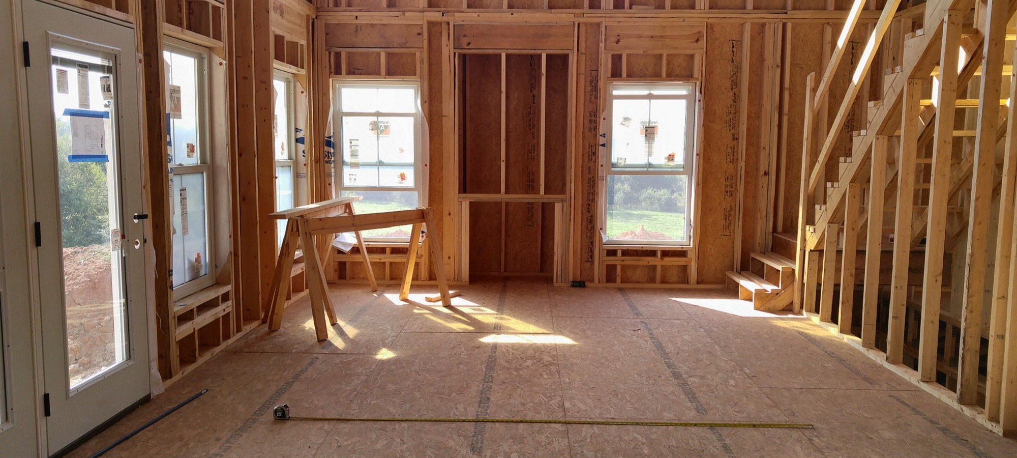 custom house interior framing