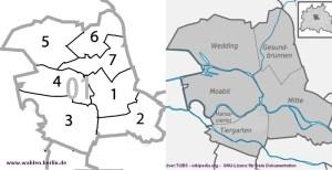 7 Wahlkreise in 2001. Warum nicht wieder so? - Bild: www.wahlen-berlin.de / wikipedia