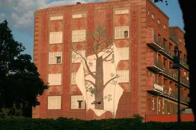 Hauswand auf Hauswand gemalt. Foto Andrei Schnell.