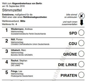 Muster Stimmzettel Direktkandidaten (Erststimme) Wahlkreis 4. Grafik Landeswahlleiter Berlin.