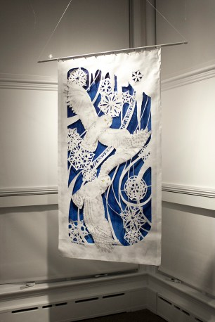 """Margo Lemieux, """"The North Wind Flies on Snow White Wings"""", cut paper, acrylic, marker"""