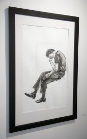 """Adrian Rodriguez, """"Seated Figure"""", Sumi ink on paper"""