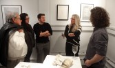 Two friends of the artists, artist Andrew Stearns, Carolyn Muskat, and artist Patrick Casey.