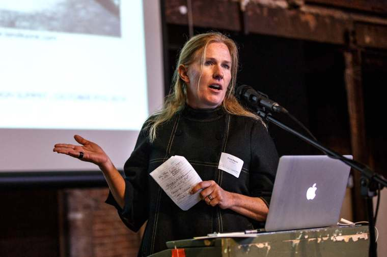 Tricia presents the Brooklyn Waterfront Greenway's Design Guidelines for Green Infrastructure, Climate Change Adaptation and Resiliency at the Gowanus Design Summit in October.