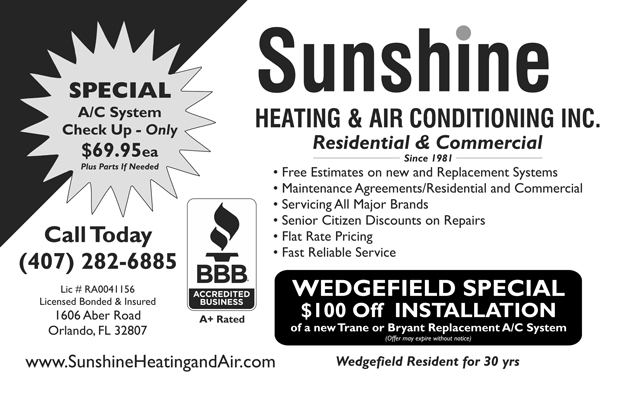 Sunshine Heating and Air Advertisement