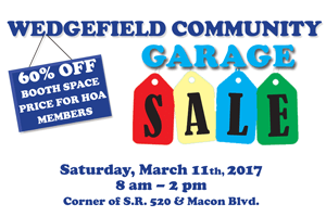 Wedgefield Community Garage Sale March 11th, 2017