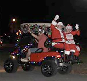 Santa and Mrs. Claus at Golf Cart Parade