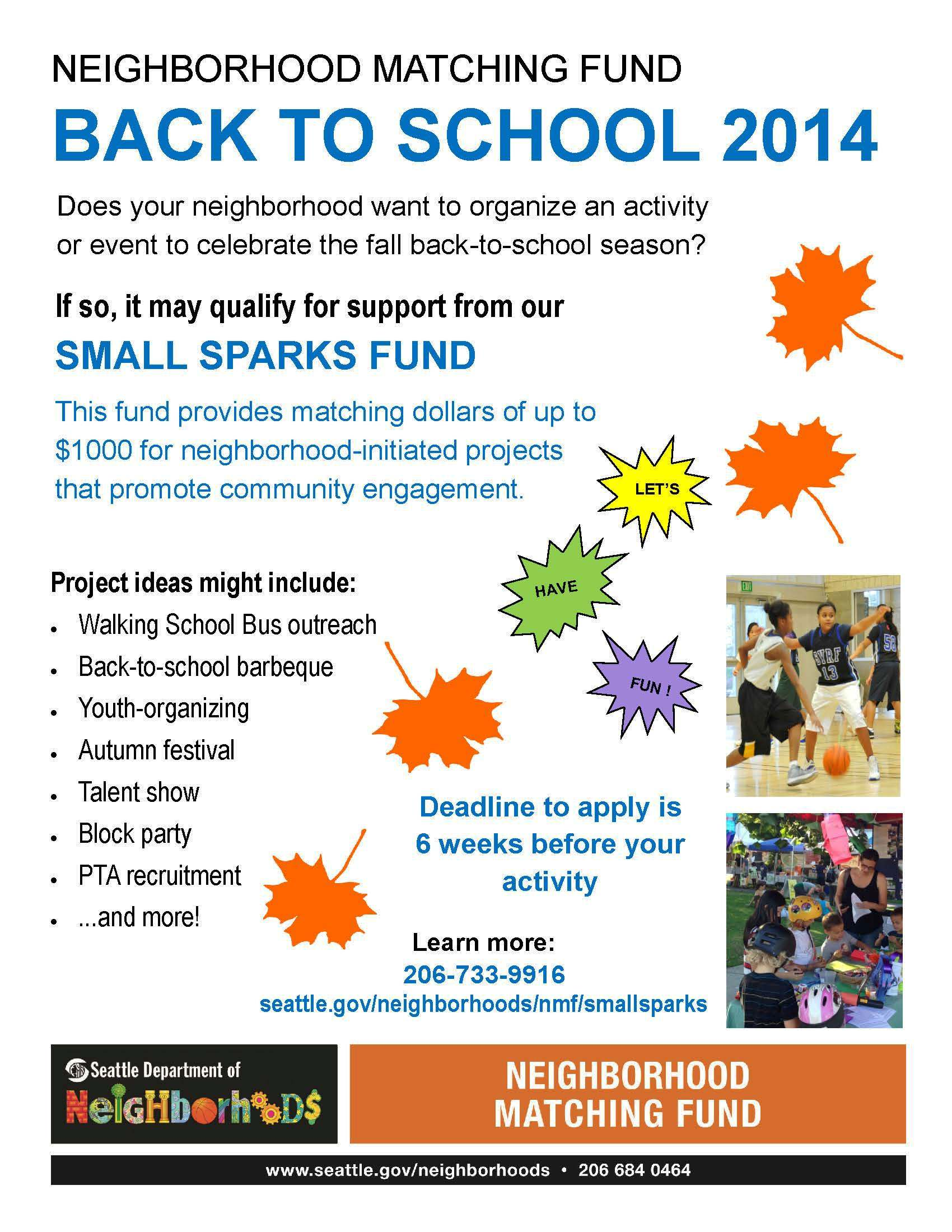 Neighborhood Matching Fund For Back To School Projects Wedgwood Community Council