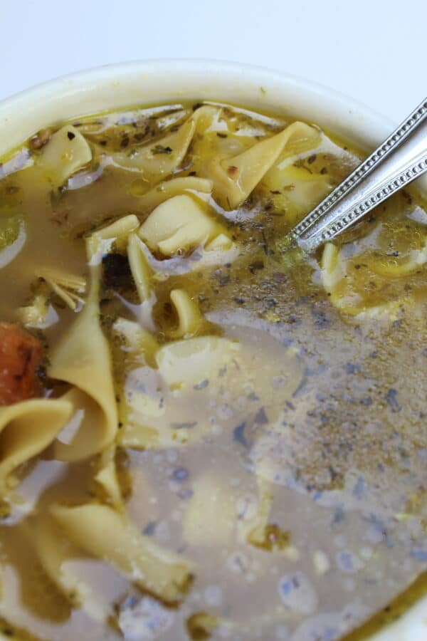 country chicken noodle top view
