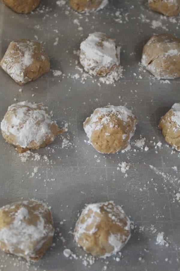 Dough Balls rolled in powder sugar