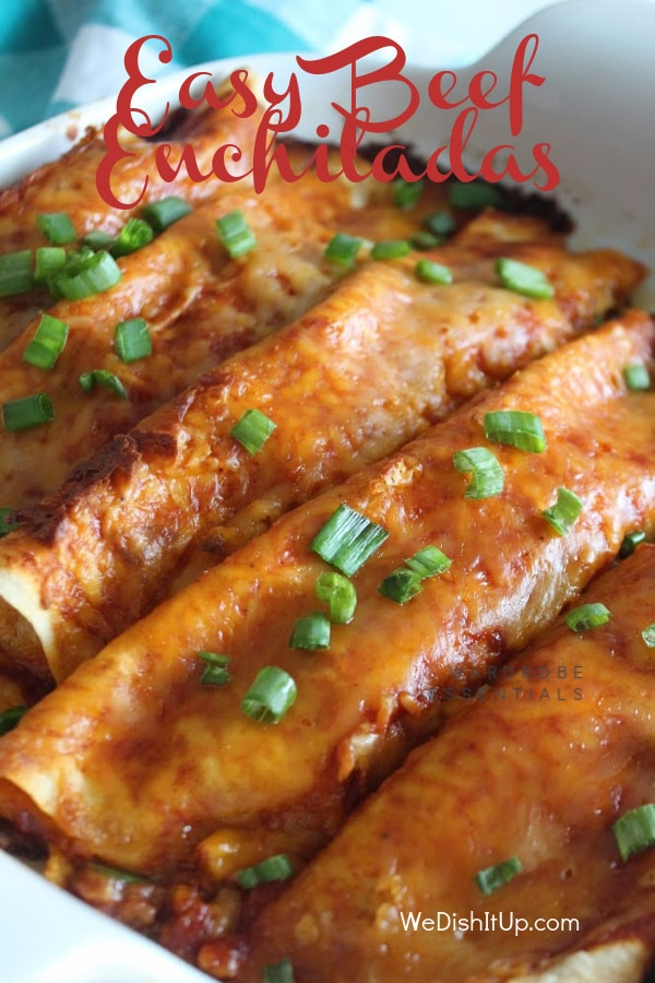 Easy Beef Enchiladas with green onions
