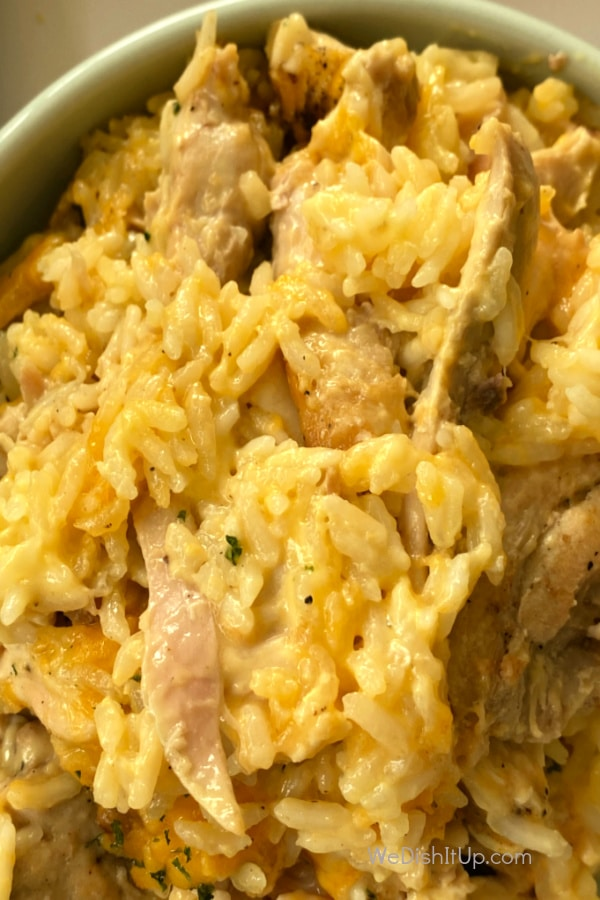 Cheesy Rice and Chicken in Bowl