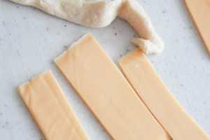 Cheese cut in fourths