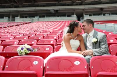 svatební foto na tribuně