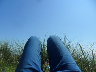 Sunbathing in jeans!
