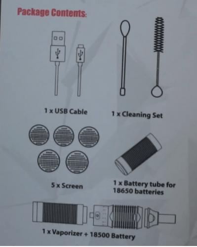 Zum Lieferumfang vom Stilus gehören 5 Siebe ein Cleaningset 1 Ersatzkammer für eine 18650 Batterie eine 18500 Batterie und die Kammer dafür und ein USB Kabel