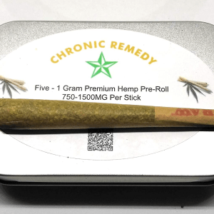 Chronic Remedy's Organic Hemp Pre-Roll | 5 Raw King Size Cones | Tin Container | 1.3grams Each | 750-1500mg Per Stick | Made In The USA