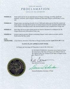 Oregon Native Plant Appreciation Week Proclamation 2017