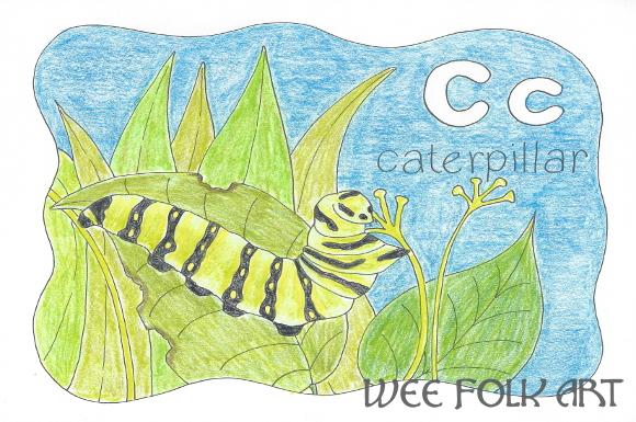 Nature Alphabet Coloring Page Letter C