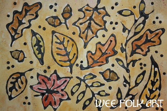 Autumn Leaves Craft – Black Glue Relief