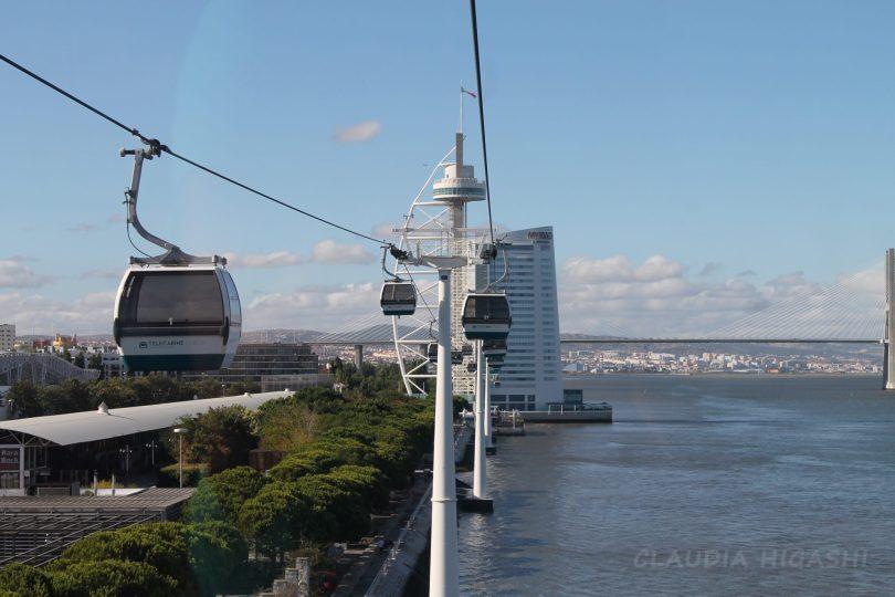Vue sur le Parque das Nacoes depuis les telecabines - telepherique - Lisbonne - photo flickr de Claudia Higashi
