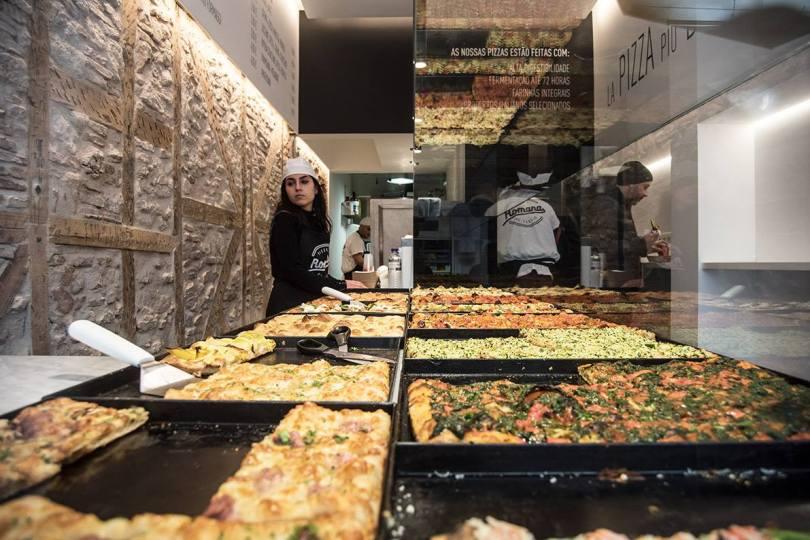 Comptoir de la Pizzeria Romana Al Taglio - Lisbonne