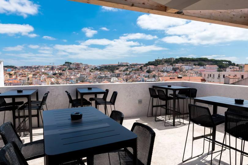 Terrasse du restaurant bar Mensagem - Lisboa Pessoa Hotel - 4 etoiles - Lisbonne