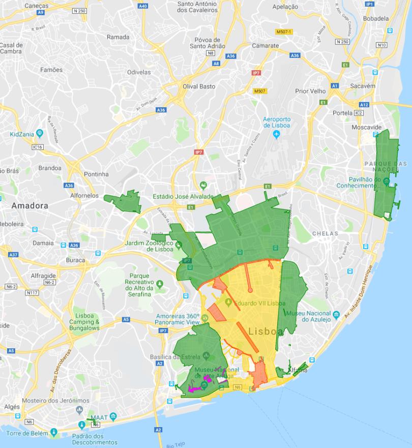 Zones de stationnement payantes - Lisbonne