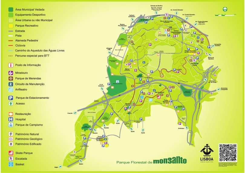 Plan du Parc de Monsanto - Lisbonne