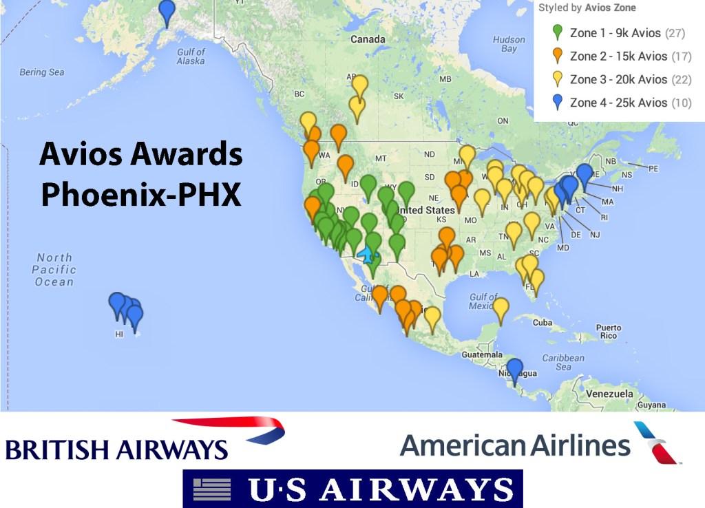 US Airways Flights Using British Airways Avios Out Of PhoenixPHX - Phoenix us map