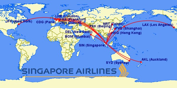 singapore a380 routes