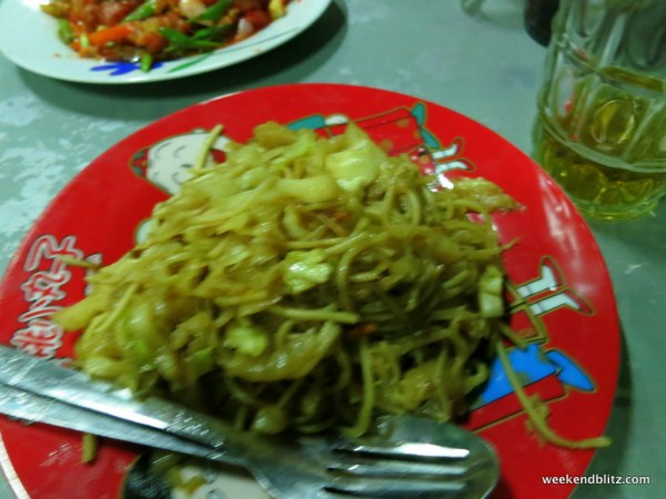 """Fried Noodle (with chicken pork)"" appx 3,000 kyat (~$3 USD)"