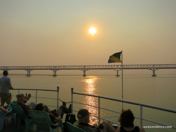 Just about everyone was on the front deck as we crossed under the Pakokku Bridge