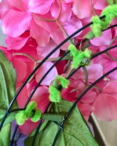 Pipe cleaners to attach hydrangea flowers to wreath