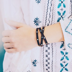 Crystal Studded Multi-Wrap Bracelet $38
