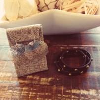Large Pom Pom Earrings $28Studded Leather Wrap Bracelet $38