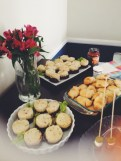 Meatloaf cups, pizza rolls, and a beautiful flower arrangement