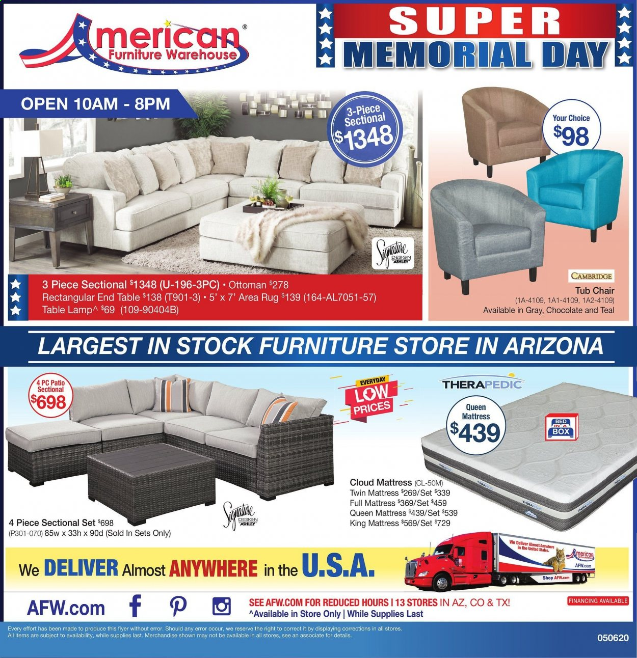 american furniture warehouse ad page