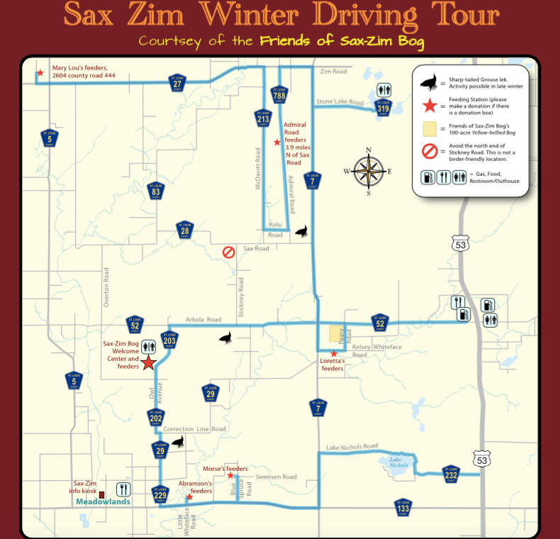 Sax-Zim recommended winter driving route