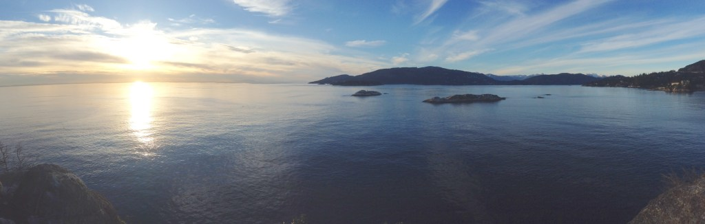 Panoramic view from an overlook above Howe Sound