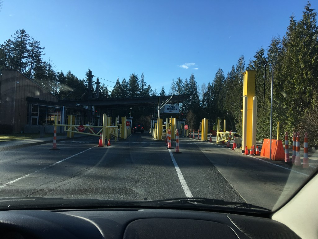 The very small border crossing to enter Point Roberts, WA, U.S.A.