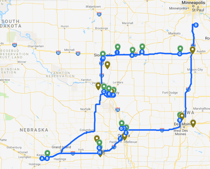 A screen shot of my map of the trip: I birded all of the green pins, and missed the brown ones (letter are just Google's way of showing driving legs). I put about 1800 miles on the rental car.