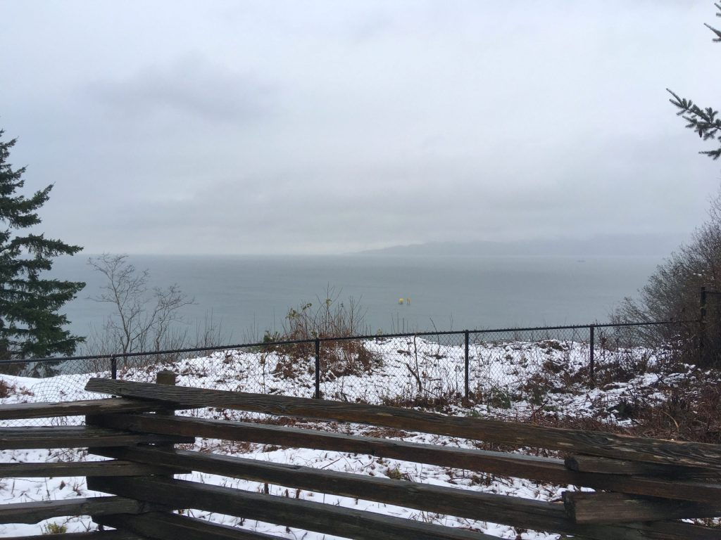Looking north over the water toward Howe Sound on a rainy/snowy day