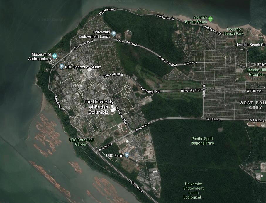Satellite view of UBC surroundings